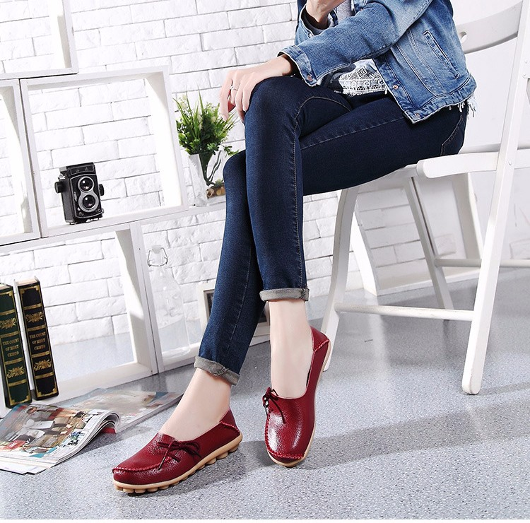 2016 New Real Leather Woman Flats Moccasins Mother Loafers Lacing Female Driving Casual Shoes In 16 Colors Size 34-44 ST179 (29)