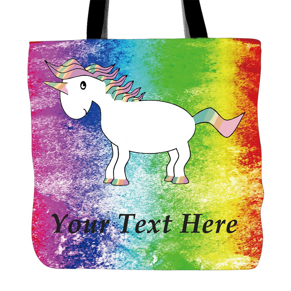 3ffc68ebe4 Personalized Text Unicorn With Rainbow Color Printed Tote Bags Canvas  Double Sided Printing Custom Handle Bag For Children-in Top-Handle Bags  from Luggage ...