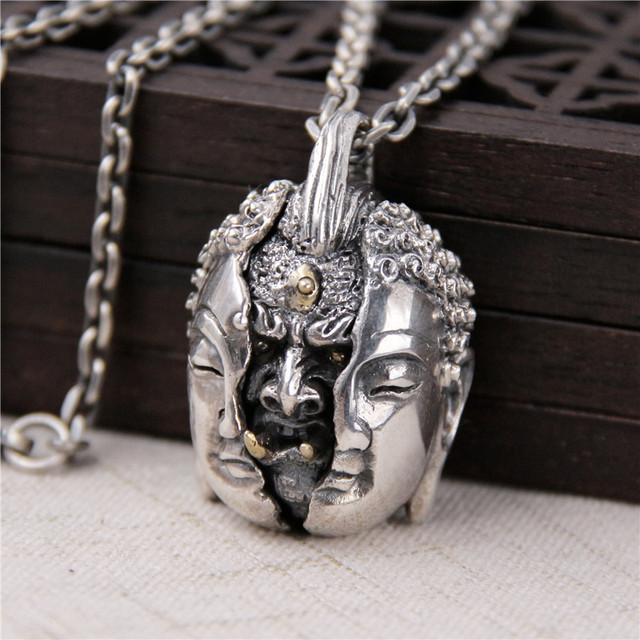S925 sterling silver retro thai silver necklace individuality s925 sterling silver retro thai silver necklace individuality domineering buddha statue pendant between mens models aloadofball Choice Image