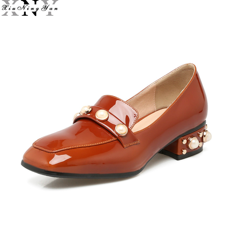 XIUNINGYAN Loafers Ladies Pearl Oxford Shoes Fashion Brand Style Square Toe Slip on Pearl Flats Shoes for Women Loafers Big Size top quality women flats genuine leather slip on women pointed toe loafers brand oxford shoes for women flat shoes ladies shoes