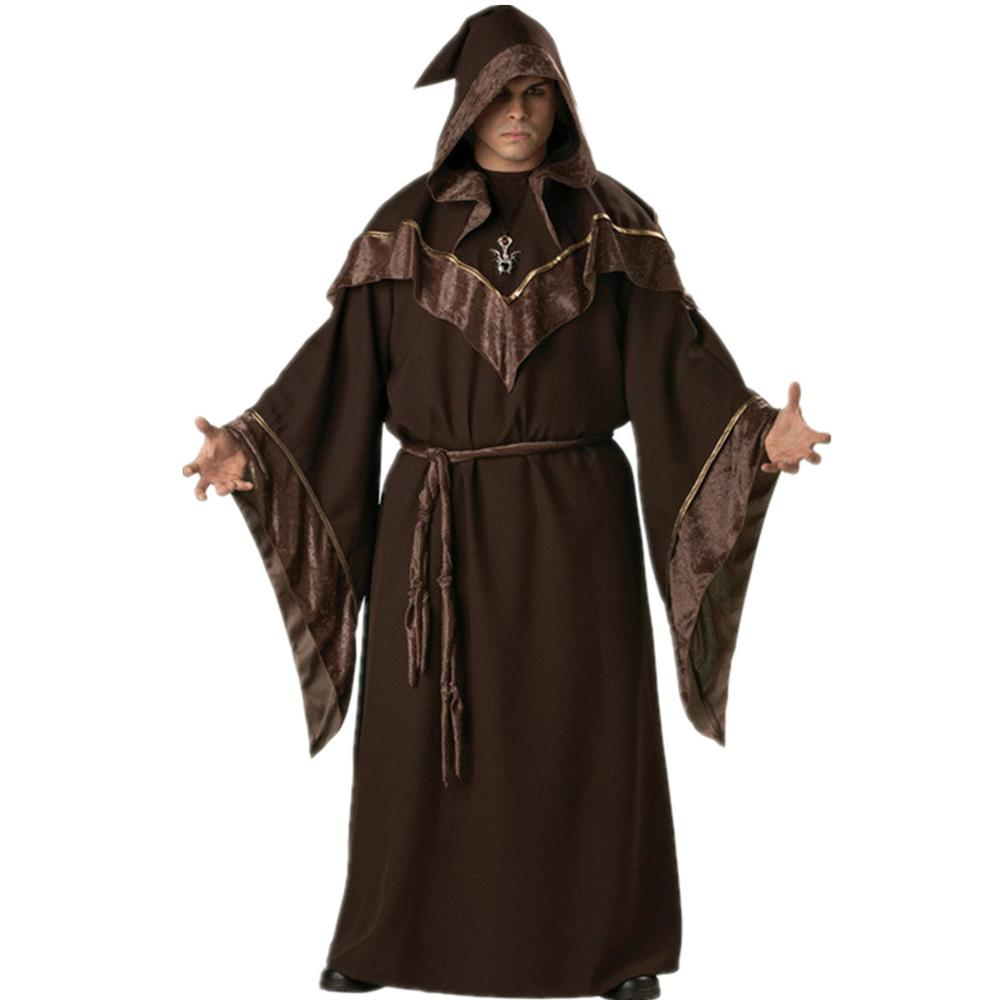 Halloween Cosplay Adult Male Wizard Missionary Magician Pharaoh Costume European Religious Pharaoh Priest Fancy Dress(China)