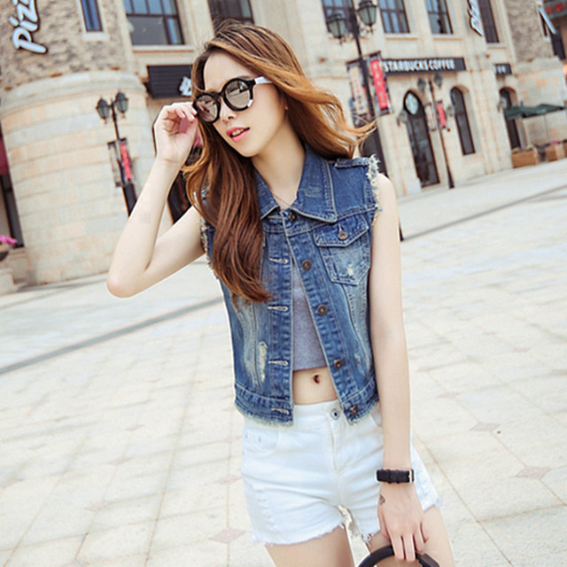 2016 Woman Motorcycle Denim Waistcoat Button Cotton Sleeveless Consual Jeans Vest Women Denim Jacket colete feminino LH058