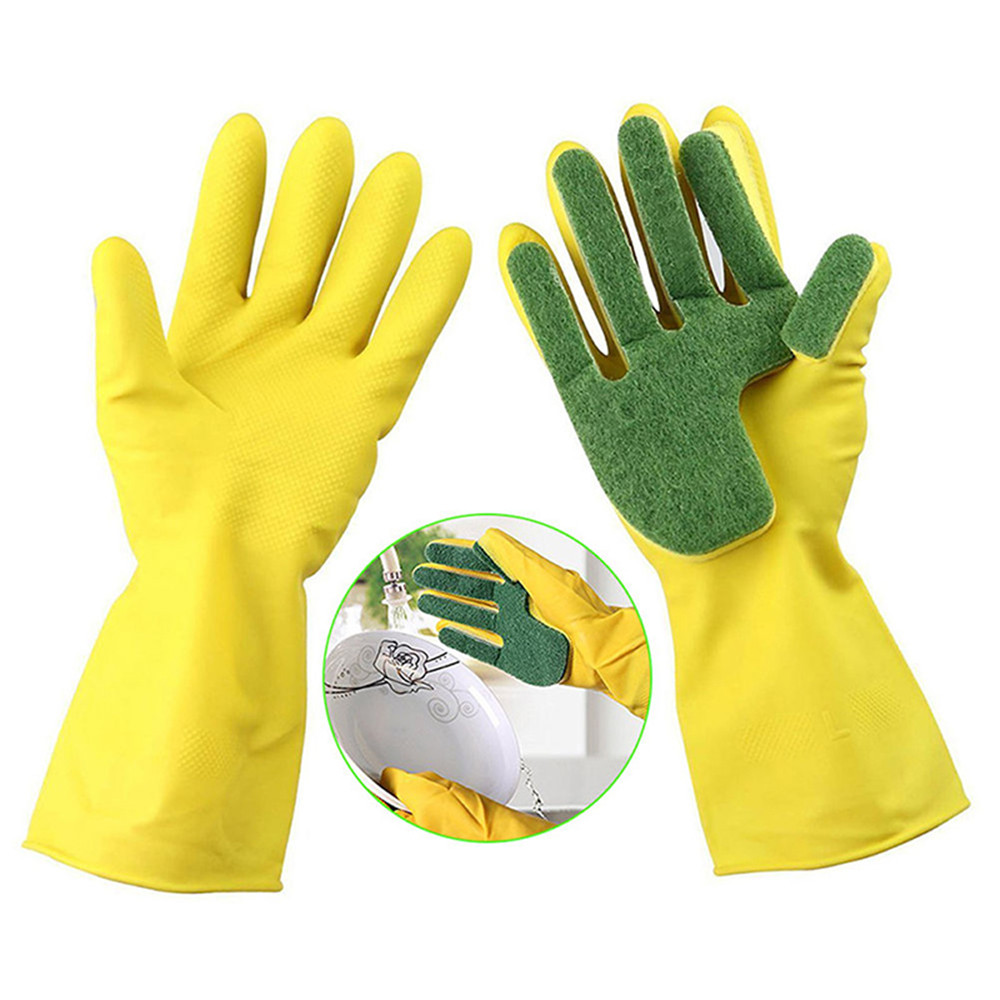 1pair Latex Kitchen Cleaning Dishwashing Gloves Reusable Scrub Sponge Dish Washing Gloves With Scouring Pad Home Clean Tools in Household Gloves from Home Garden