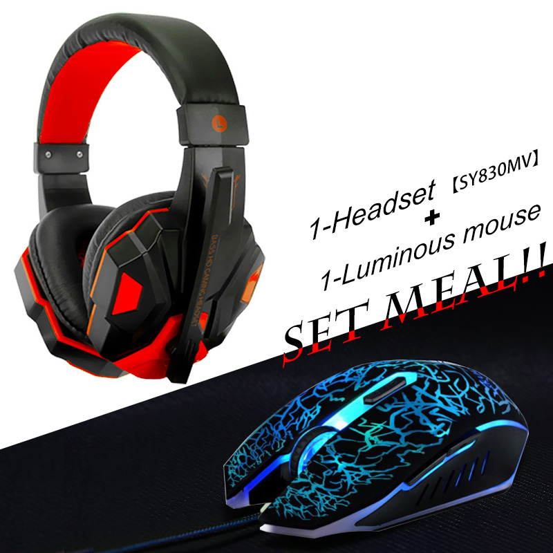 2pcs/combo Soyto No.830-4 Gaming Headset Headphones with Mic + USB Optical Wired Gaming Mouse mice for Computer PC Pro Gamer usb earphone headphones with mic call center computer usb headset customer service headset for pc laptop skype chat gaming