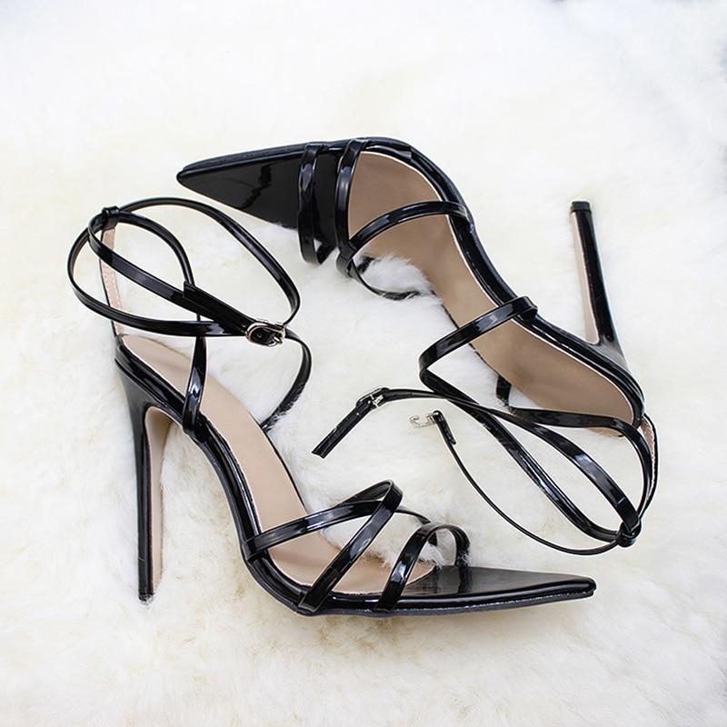 Женские босоножки на очень высоком тонком каблуке 11,5 см; туфли-лодочки с ремешком на щиколотке; женские модельные туфли с острым носком на высоком каблуке; обувь для вечеринок - Цвет: black