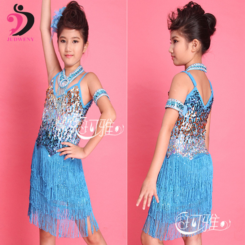 Latin Children Kids Tassel Sequin Fringe Performance Ballroom Dance Costume Latin Dance Dress Collar Arm Chain Flower for Girls