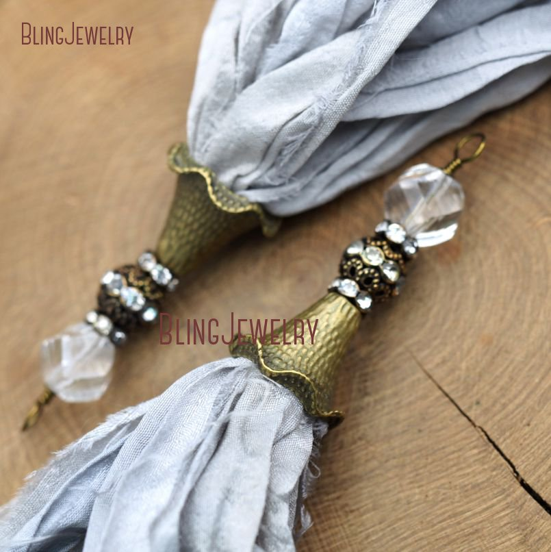 Light Gray <font><b>Sari</b></font> <font><b>Silk</b></font> <font><b>Tassel</b></font> Pendant Antique Bronze and Crystal Ball Accent PM9037 image