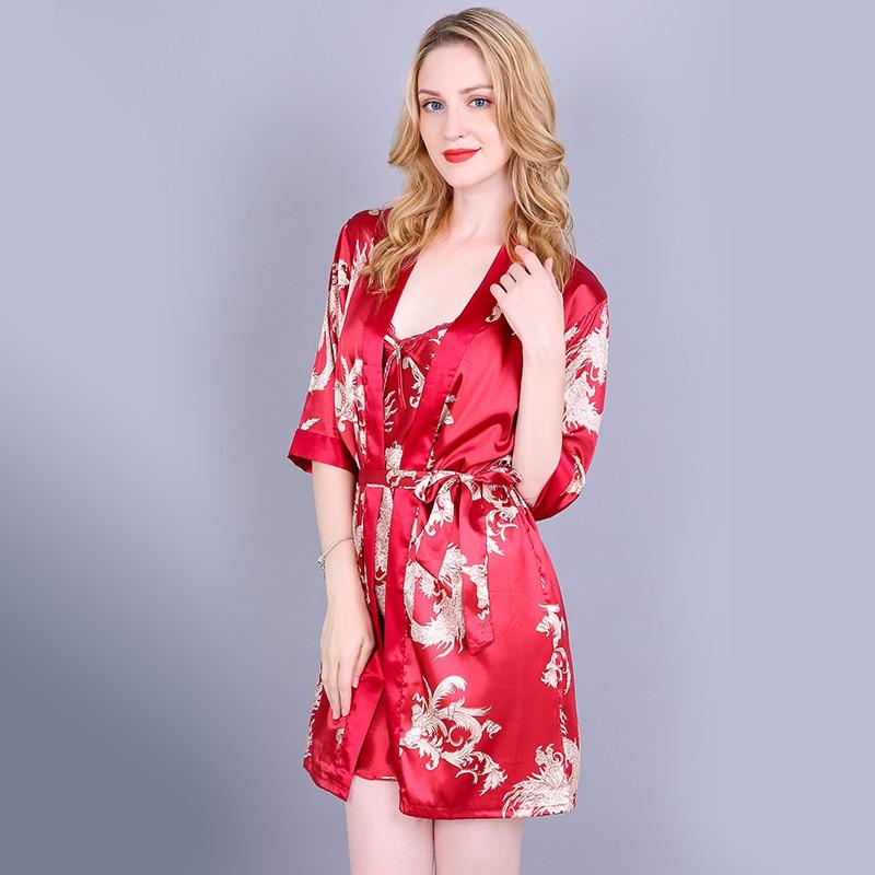 Красный женский Сексуальный Атласный Костюм-двойка, китайский винтажный комплект с принтом дракона, ночная рубашка женское нижнее белье халат из искусственного шелка m-xl - Цвет: Red