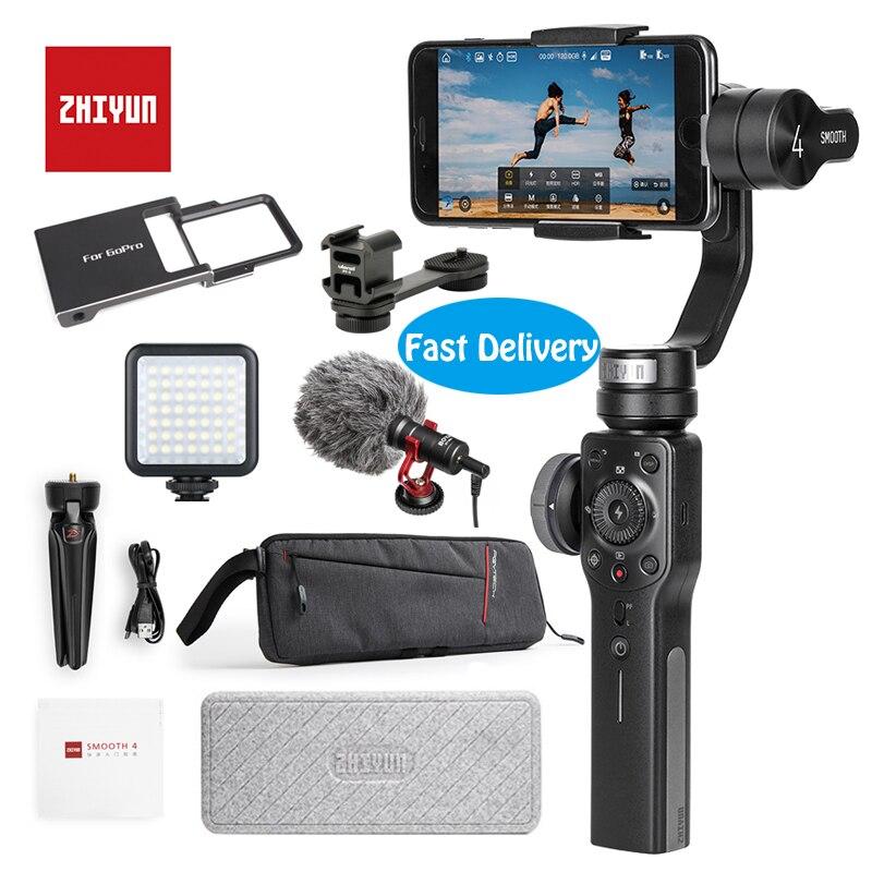Zhiyun Suave 4 3-eje cardán portátil estabilizador de montaje de cámara para iPhone 8 y Huwei P10 y Gopro cámara de Acción