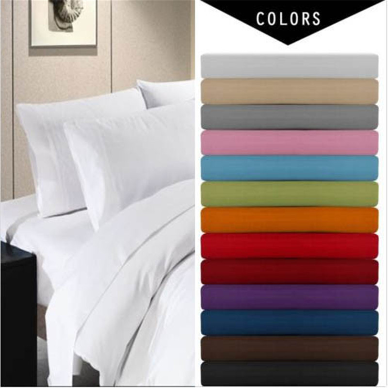 Sheet-Set Fitted-Sheet Bed Solid-Bedding-Set Deep-Pocket 4piece Twin/full-Size Pillowcase.super