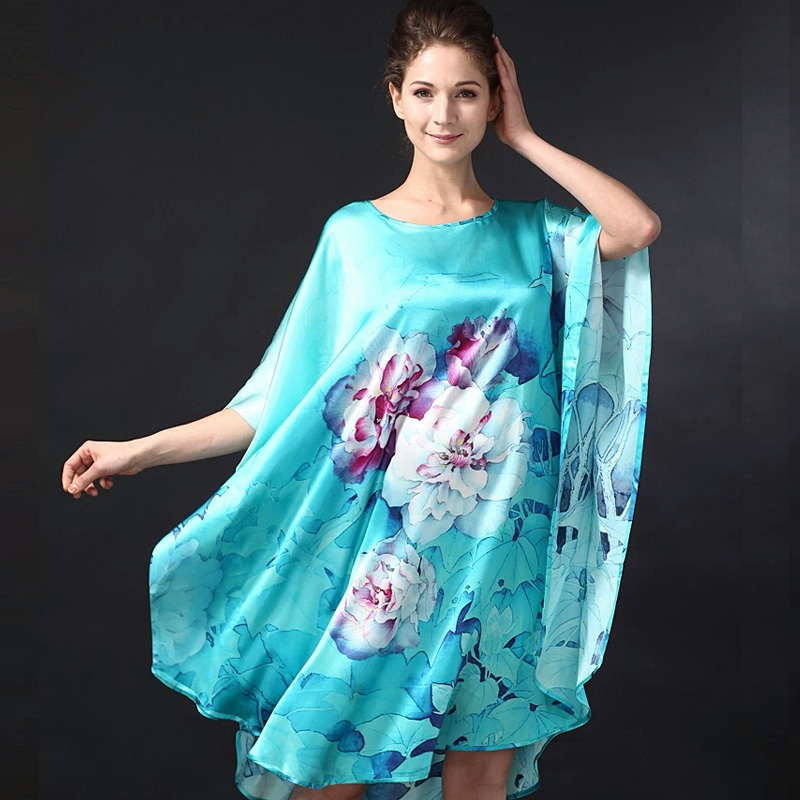 Silk Sleepshirts Plus Size 2018 Summer Sleepwear Women Sexy Nightdress Knee Length Loose Female Fashion Flower Printed Nightgown 1