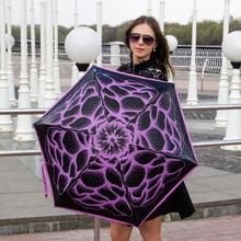 (3pcs get 1pc free)Five fold 210Tpongee 5 times black coating anti-uv umbrella alloy fiberglass butterflies love flowers parasol