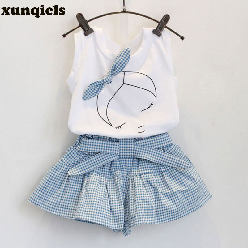xunqicls 2pc Kids Girl T-shirt Tops +Plaid shorts Pants Outfits Summer Vest Baby Cotton Sleeveless Girl Clothing Set 2pcs children outfit clothes kids baby girl off shoulder cotton ruffled sleeve tops striped t shirt blue denim jeans sunsuit set