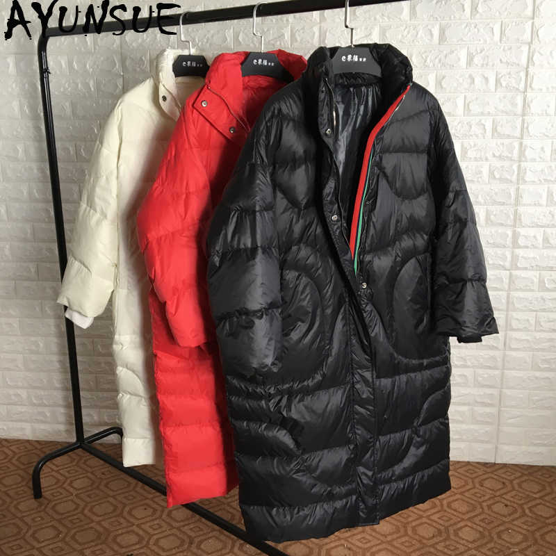 AYUNSUE White Goose Down Jacket Female Long Coat Women