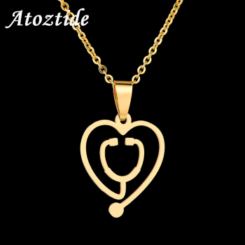 Atoztide Cute Stainless Steel Hollow Heart Stethoscope Pendant Necklace Gold Silver Color Doctor Medical Necklace Jewelry Gift