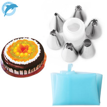 LINSBAYWU HOT Silicone Icing Piping Cream Pastry Bag + 6xStainless Steel Nozzle Set DIY Cake Decorating Tips