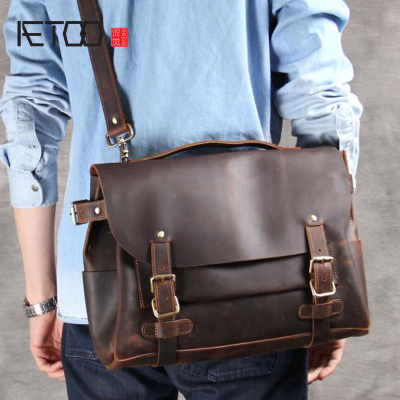 AETOO man Classic casual first layer of leather postman bag shoulder Messenger bag handmade original retro laptop bag aetoo spring and summer new leather handmade handmade first layer of planted tanned leather retro bag backpack bag