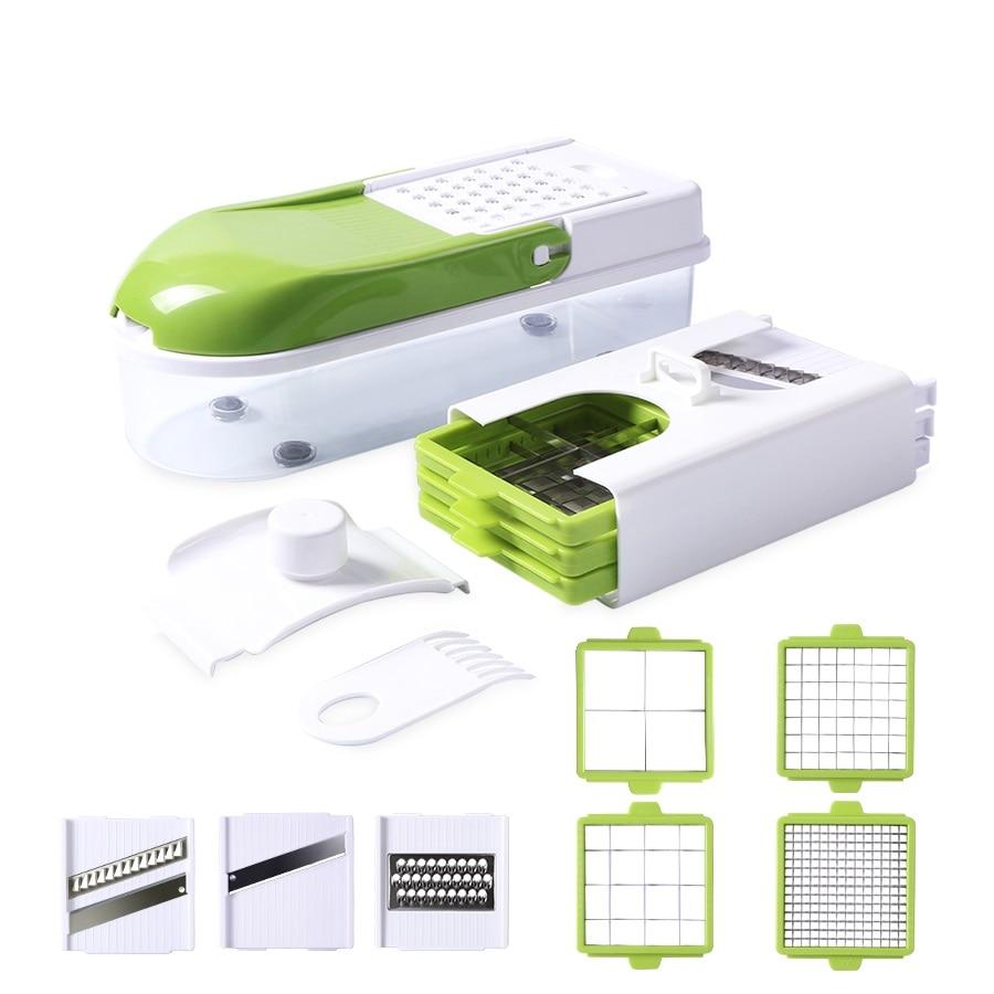 Multifunción cortadora de verduras con 8 cortar hojas Manual pelador rallador zanahoria cortador herramientas de cocina cortador de verduras