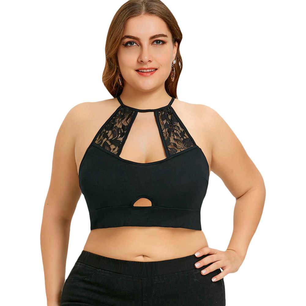 Wipalo Women Cami Plus Size 5XL Sexy Lace Crochet Trim Cut Out Camisole Black Halter Crop Top Strappy Bralette Summer Tops