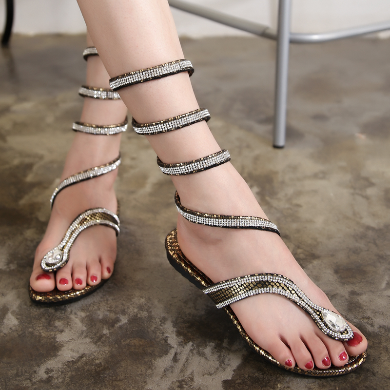 2015 Fashion Women Summer Shoes Crystal Band Ladies