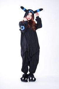 Image 3 - Kigurumi Volwassen Umbreon Rompers Anime Cosplay Kostuum Winter Nachtkleding Pyjama Jumpsuit Homewear Vrouwen Man Hoodies