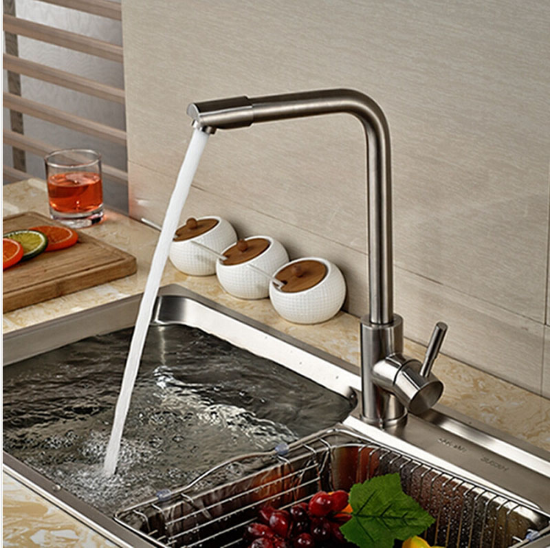 Deck Mounted Brushed Nickle Kitchen Faucet Single Handle Hot Cold Faucet