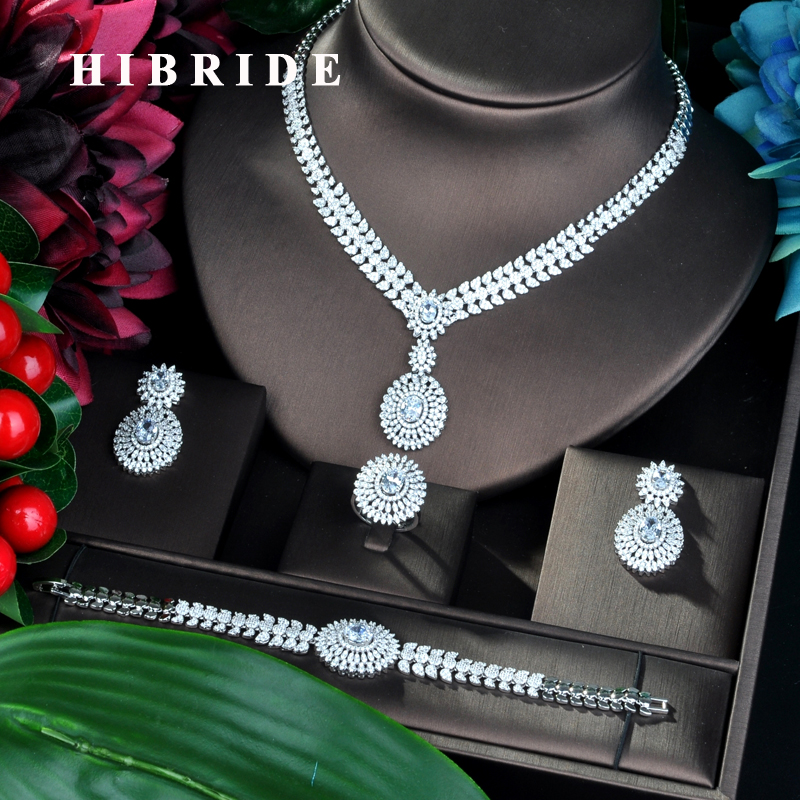 HIBRIDE Luxury Round Flower Design Cubic Zirconia Jewelry Sets For Women Party Luxury Dubai Nigeria Wedding Jewelry Sets N-808HIBRIDE Luxury Round Flower Design Cubic Zirconia Jewelry Sets For Women Party Luxury Dubai Nigeria Wedding Jewelry Sets N-808
