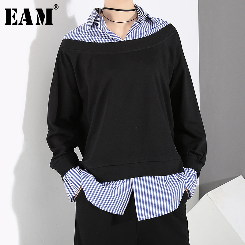 [EAM] 2019 New Autumn Winter Turn-down Collar Long Sleeve Striped Spliced Brief Big Size Sweatshirt Women Fashion Tide JY369