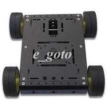Black 4WD Drive Aluminum Mobile Robot Car Chassis for Arduino Platform