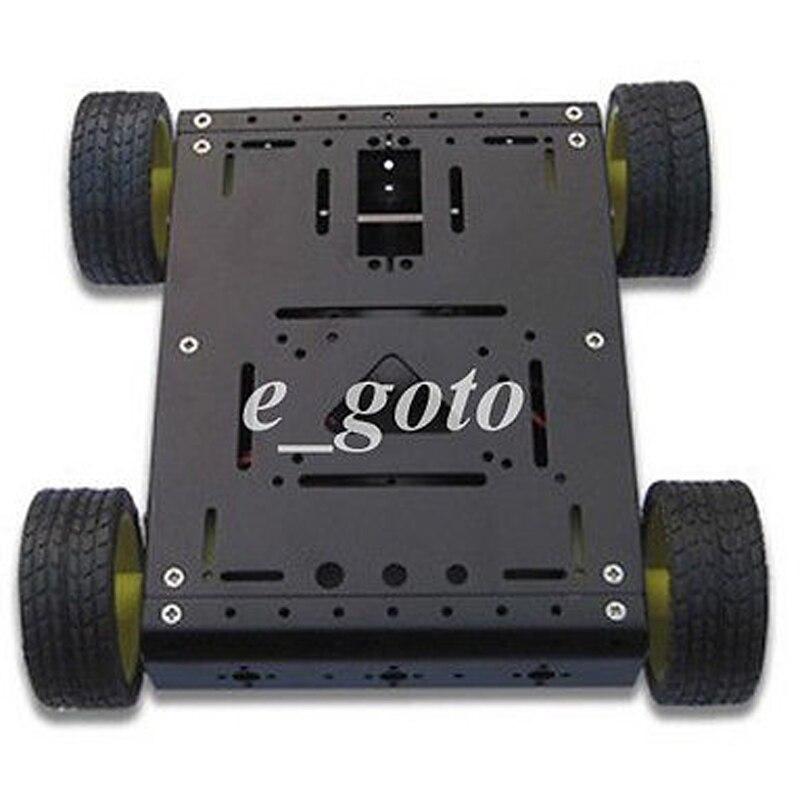Black 4WD Drive Aluminum Mobile Robot Car Chassis for font b Arduino b font Platform