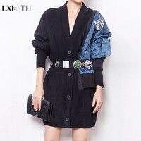LXMSTH Длинная шерстяная вязанная куртка для подиума, плюс размер, вышивка, v образный вырез, осенние свитера, куртка для женщин, с бисером, со ст