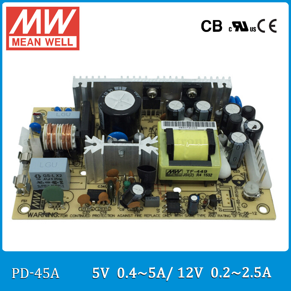 Original MEAN WELL PD-45A 45W Dual output 5V 12V Switching Power Supply open frame type PD-45