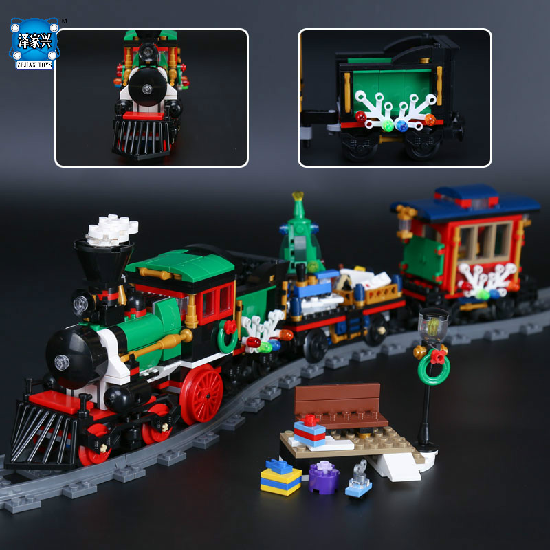 Lepins 770Pcs Creative Series The Christmas Winter Holiday Train Set Children Educational Building Blocks Bricks Figures Toys the perfect holiday