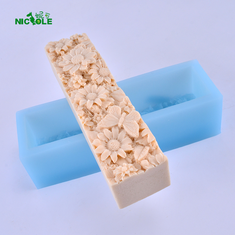 Rectangular Silicone Loaf Soap Mold with Flower Pattern Decoration Craft Handmade Mould Tool