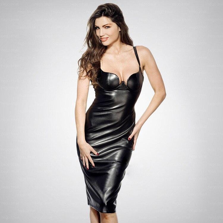 2019 nouveau Style dos nu Bandage en cuir souple robe Sexy femmes boîte de nuit sans manches partie corps con bretelles robes en gros