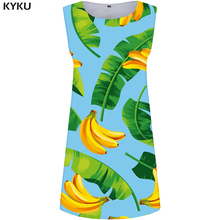 KYKU Banana Dress Women Leaves Beach Sundress Green Office Ladies Dresses Space 3d Sexy Print Casual Punk Womens Clothing