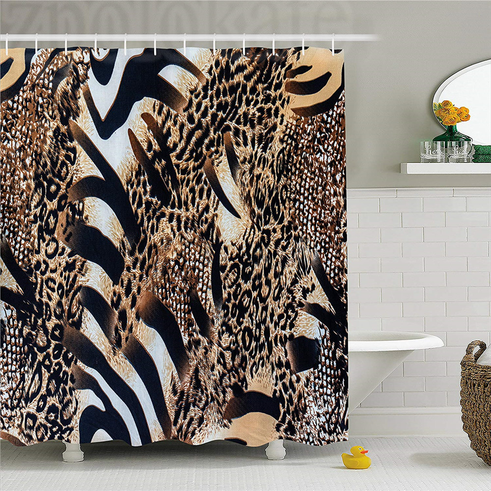 Zambia Shower Curtain Safari Wild Striped Zebra And Leopard Pattern Camouflage Tropical Graphic Fabric Bathroom Decor Set With