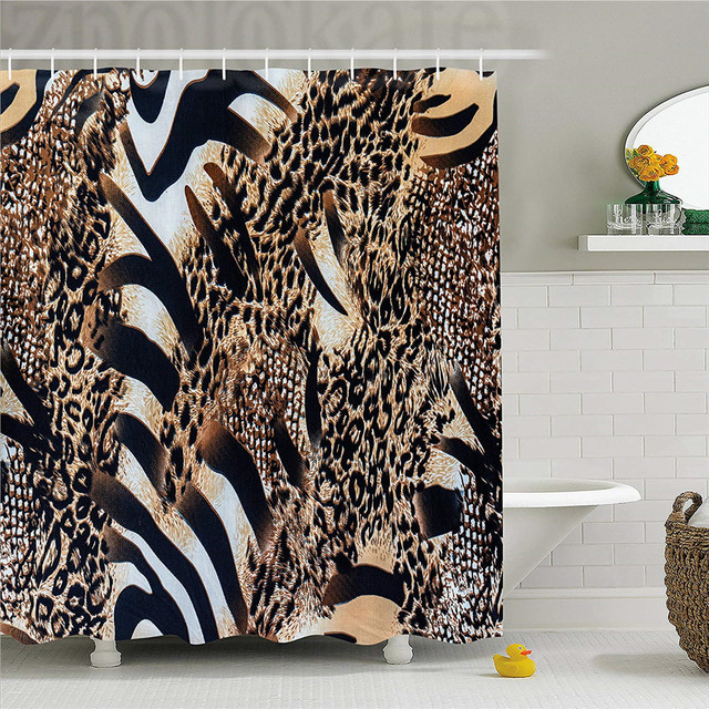 Zambia Shower Curtain Safari Wild Striped Zebra And Leopard Pattern Camouflage Tropical Graphic Fabric