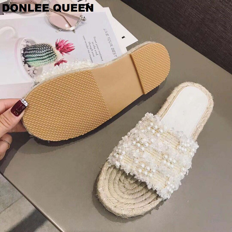 2019 Summer Slippers Hemp Fabric Slides Women Home Shoes Brand Sandals Slip Flip Flops Female Flat Casual Shoes Zapatos De Mujer in Slippers from Shoes