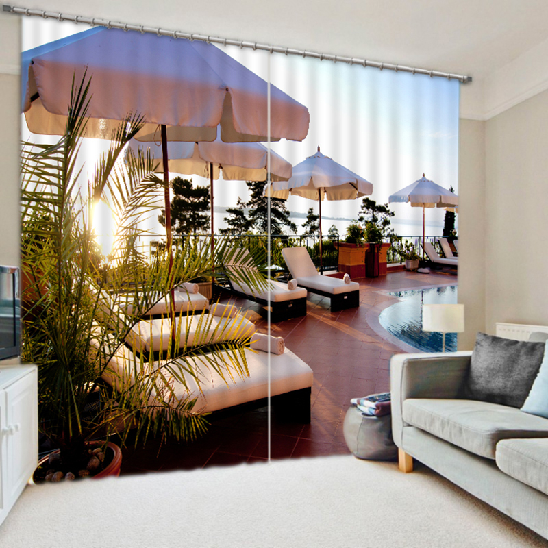 extraordinary cafe curtain living room   New Cafe Office 3D Blackout Curtains Modern Seaside Resort ...