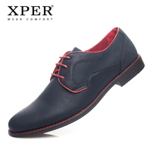Купить с кэшбэком XPER Brand Big Size 40~46 New Casual Men Shoes Fashion Men Dress Shoes Lace-Up Wear Comfortable Men Wedding Shoes #YM86518BL/BU