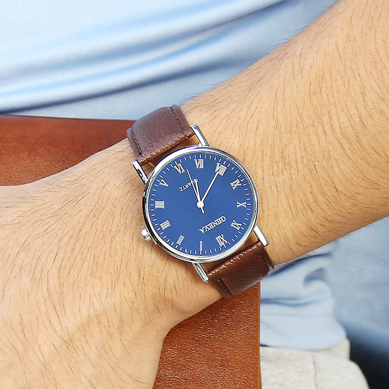 Luxury Men's 3-Eyes Blue Glass Klockor Herr Mode Business Äkta - Herrklockor - Foto 6