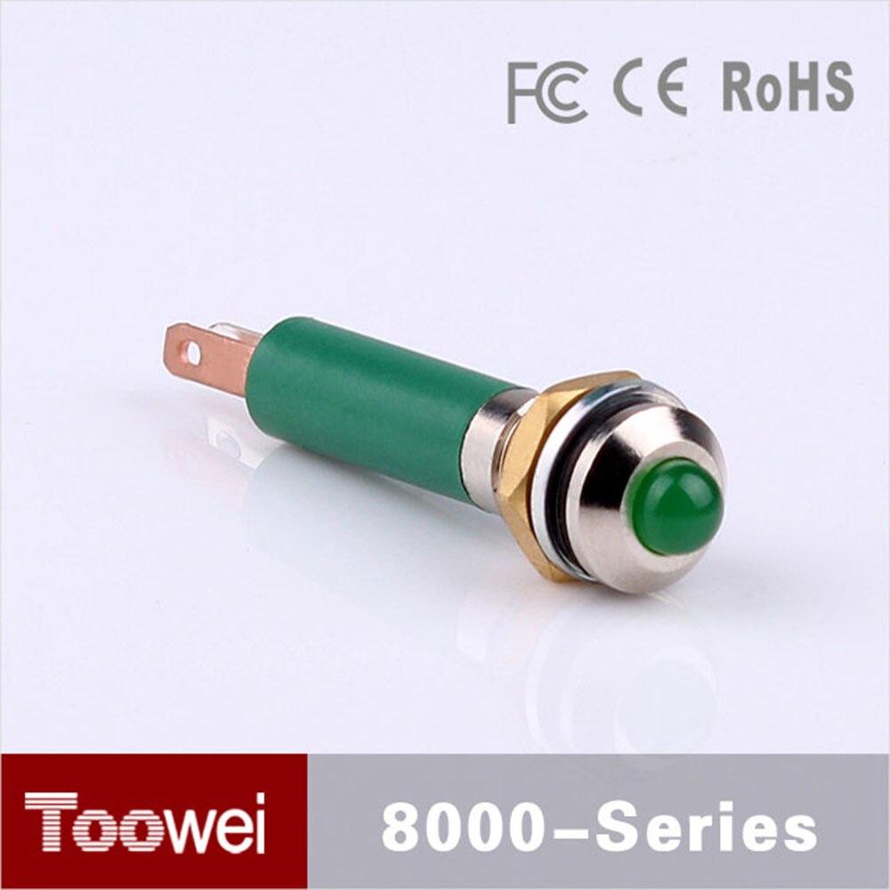 Factory Supply waterproof IP67 dc 6 volt pilot lamp signal lamp indicator light mini 6mm Green indicator lamp DC6V signal lamp