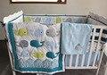 Baleia bordar 100% algodão conjunto fundamento do bebê algodão 8 itens colcha de bebê / Bumper / saia da cama / colchão capa / cobertor do bebê