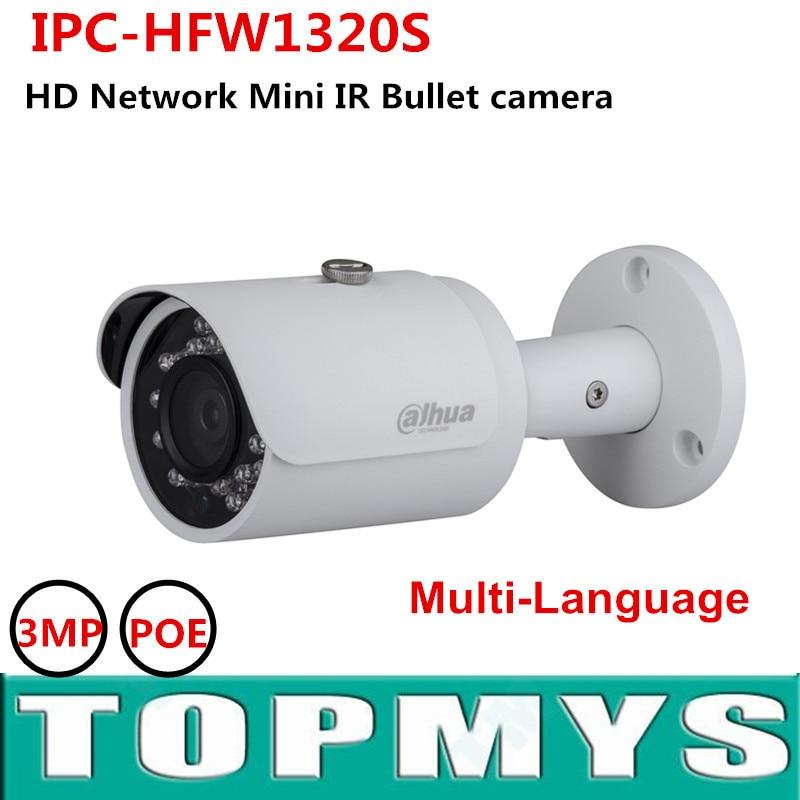 Dahua IP Camera IPC-HFW1320S 3MP POE P2P Cam with IR 30M Waterproof IP67 replace IPC- HFW4300S original English version CCTV Cam dahua 3mp ir waterproof