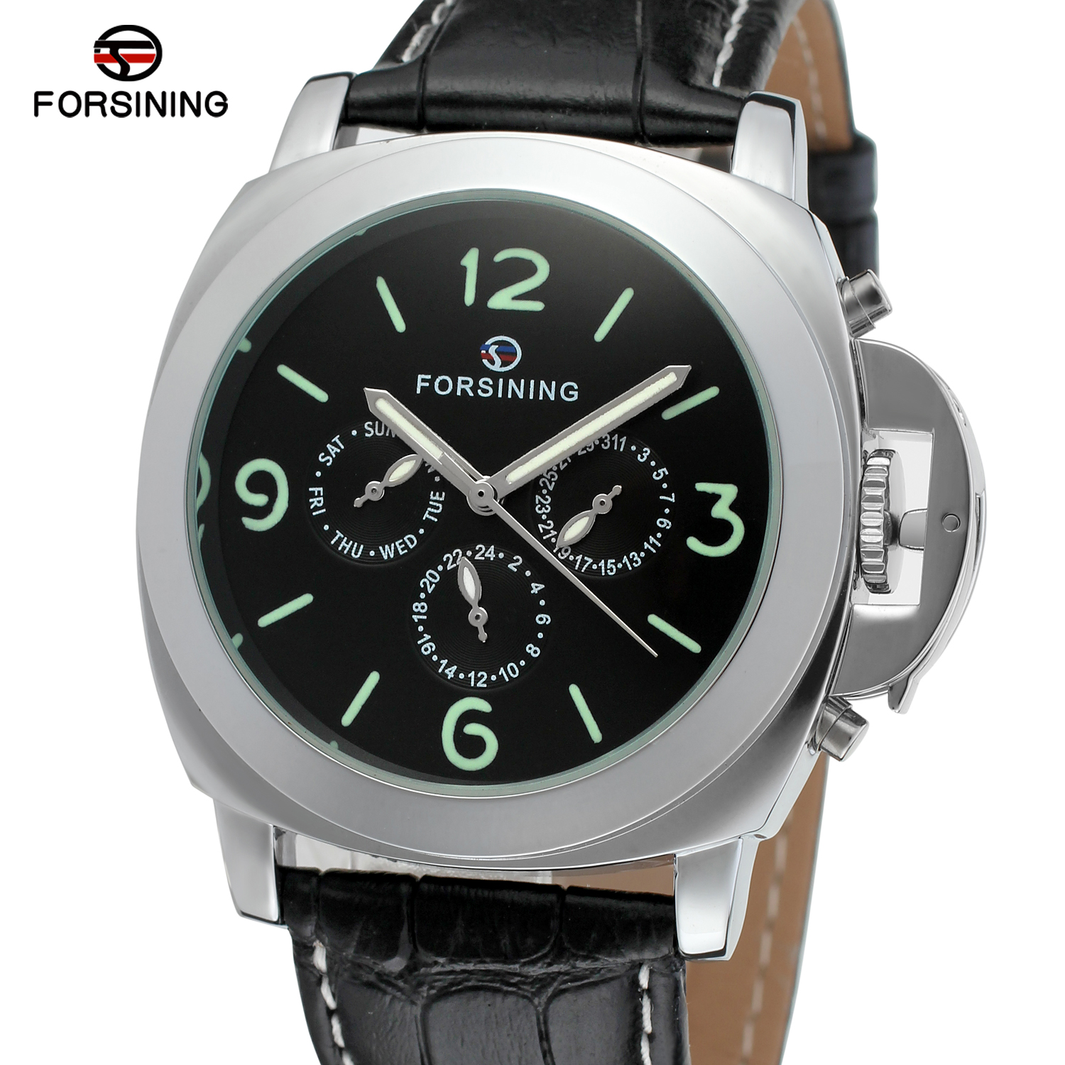 Forsining Men's Top Brand New Automatic Self-winding Genuine Leather Strap Fashion Casual Wristwatch With Date Week For Man Gift