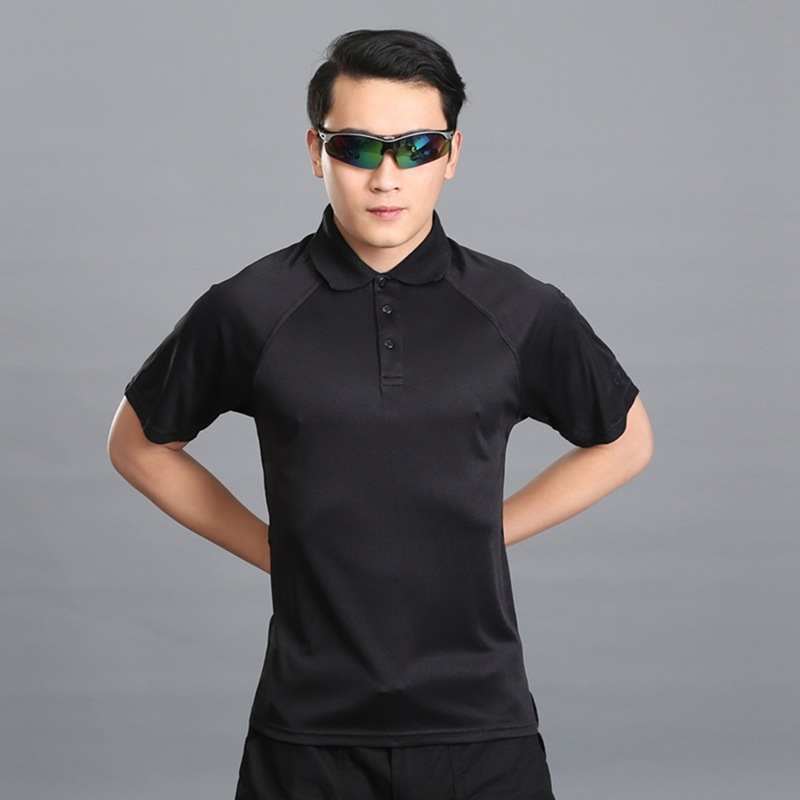 Summer Mens Military Slim Fit T-Shirt Short Sleeve Polo Shirt Outdoor Male Sports Hiking Breathable Speed Drying Sportswear