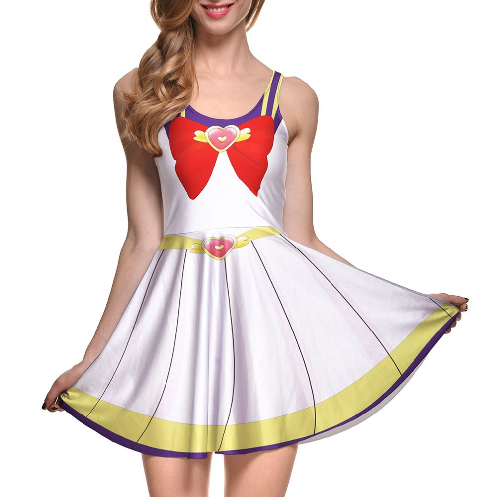 COSFANS 2018 New Female Sleeveless Print Dress Summer European and AmericanHalloween Sailor Moon Cosplay Anime Costume Umbrella