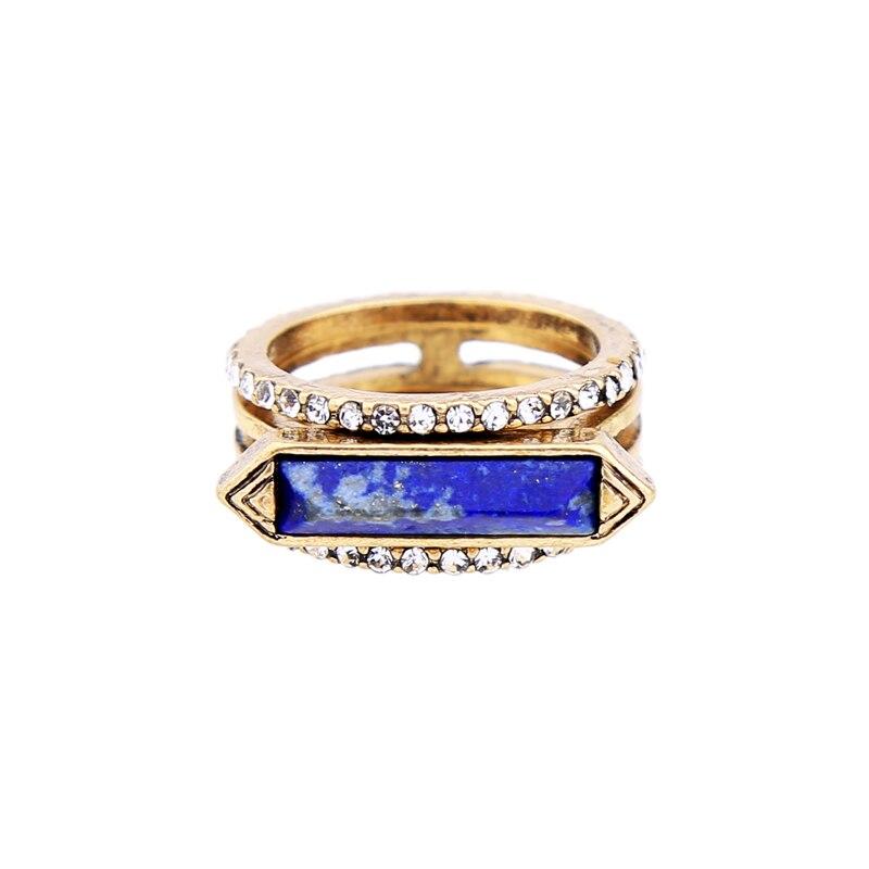 3 Pcs Geometric Crystal Blue Synthetic Stone Ring Set ali express Women Fashion Retro Ring Jewelry Wholesale