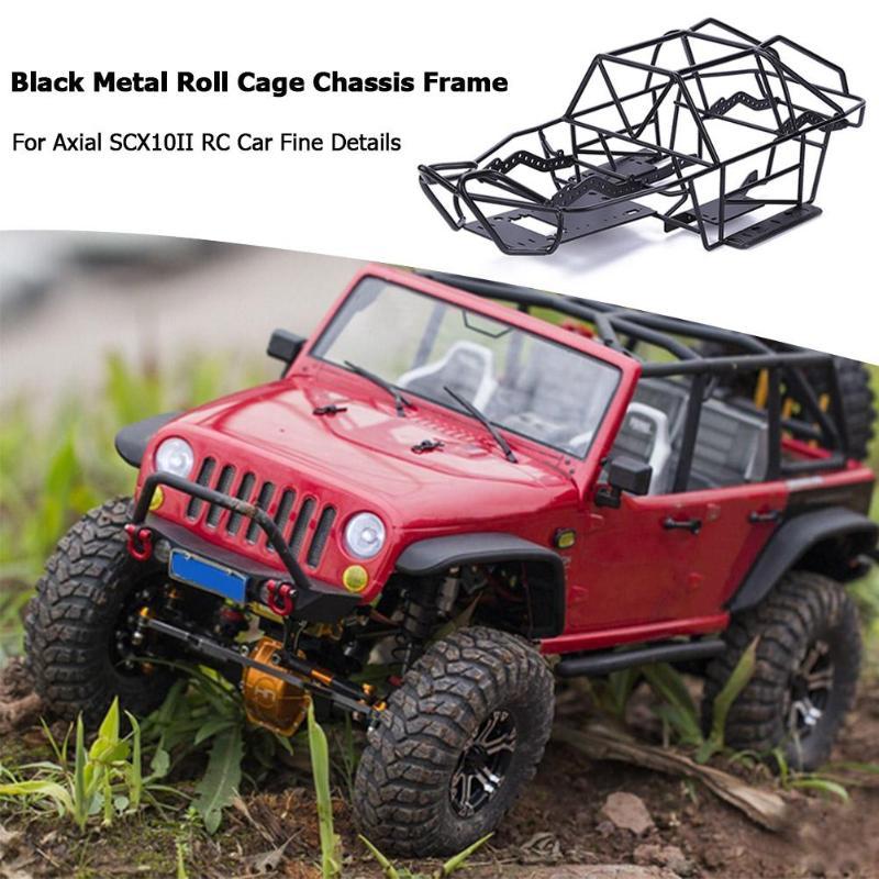 Cadre de châssis de Cage à rouleaux en métal noir pour voiture axiale SCX10II RC détails fins